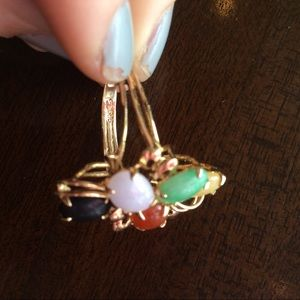 Vintage Jewelry - 14K Jade Multi Rainbow Stone Ring